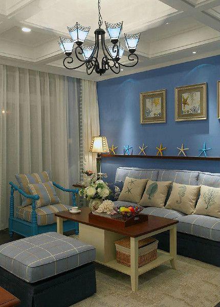 浪漫海边风蓝色简欧客厅装潢案例
