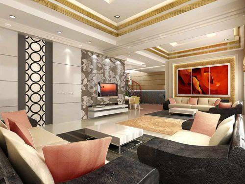 现代新古典线条明快客厅布置欣赏