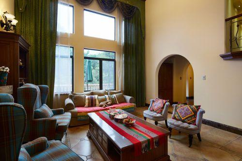 褐色东南亚风格客厅大落地窗装饰图
