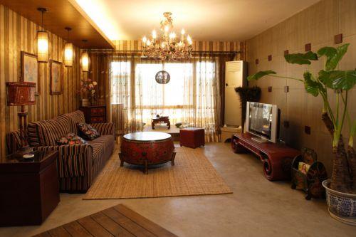 褐色东南亚风格客厅装潢案例