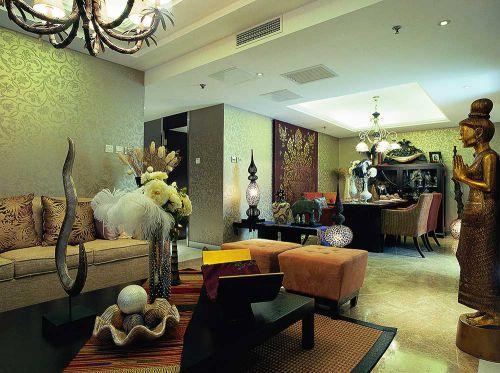 东南亚精致时尚客厅装修设计