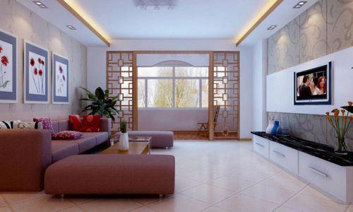 中式元素新古典简洁客厅效果图
