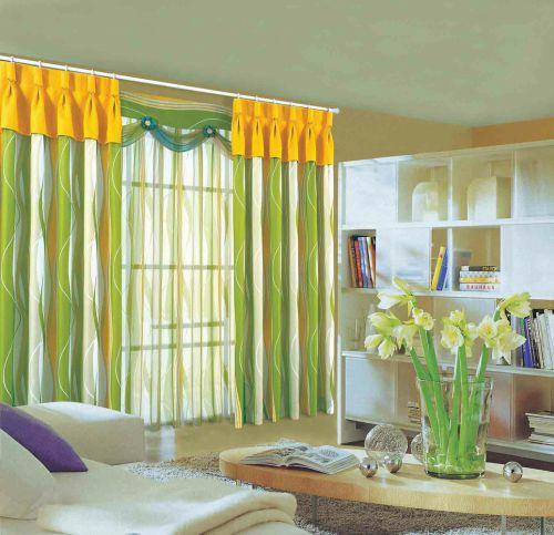 清新自然田园风格客厅窗帘设计装潢