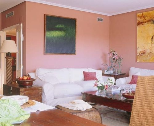 粉色浪漫田園風客廳裝修設計