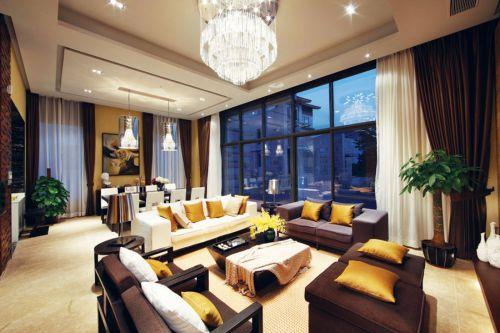 中式風格素雅米色客廳設計裝潢