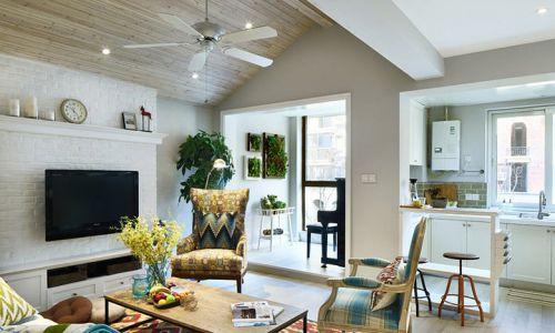浪漫唯美美式田园风格客厅装潢图片欣赏