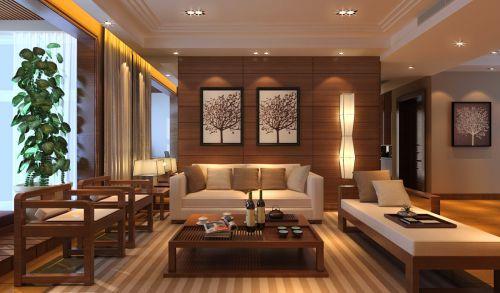 中式风格雅致橙色客厅效果图设计
