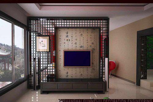 典雅复古新中式风格客厅背景墙设计