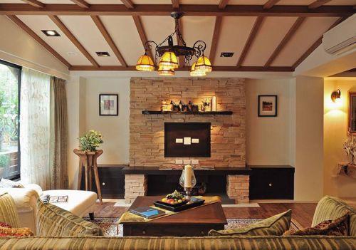 暖色田园客厅电视墙设计