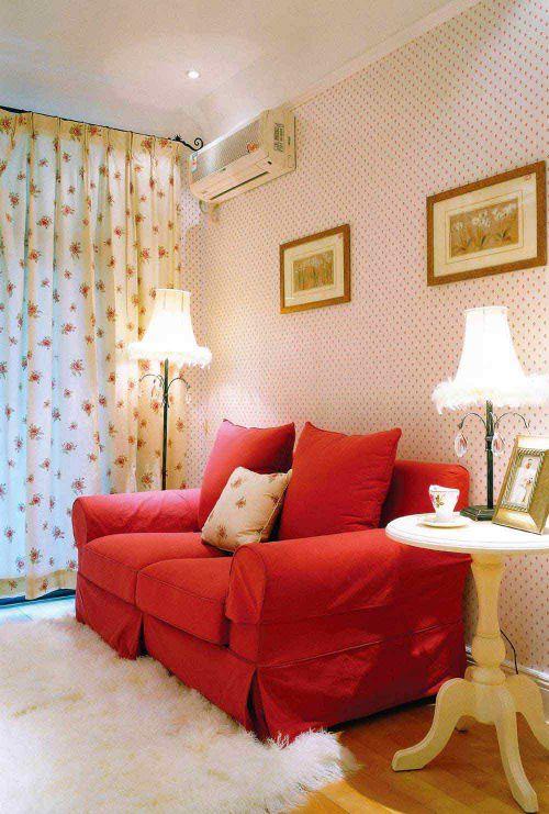 粉色浪漫唯美田园风格客厅室内效果