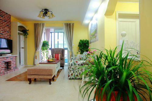 黄色现代田园风格客厅设计效果图
