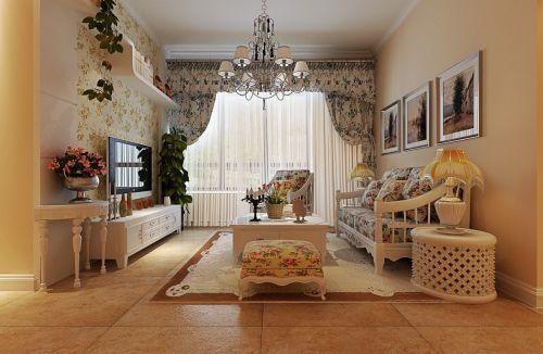 田园风格清新黄色客厅设计图片