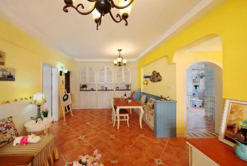 浪漫温馨唯美田园风格黄色客厅装潢装修