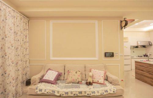 清新米色田园风格客厅沙发美图欣赏