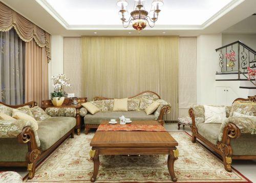 优雅田园风格米色客厅设计欣赏