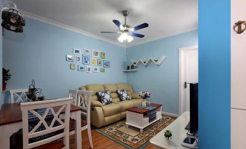 蓝色地中海客厅背景墙设计效果图