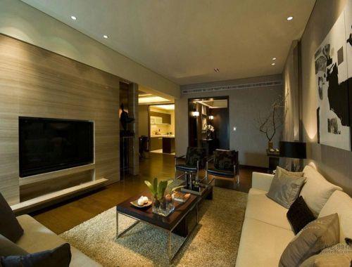 大地色现代简约舒适客厅装修设计
