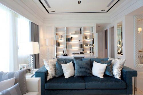 现代风格低调蓝色客厅设计赏析