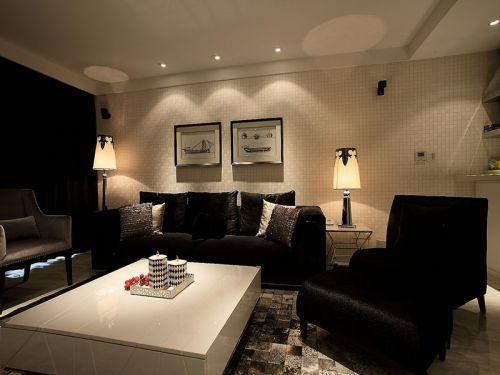 现代风格大气黑色客厅设计欣赏