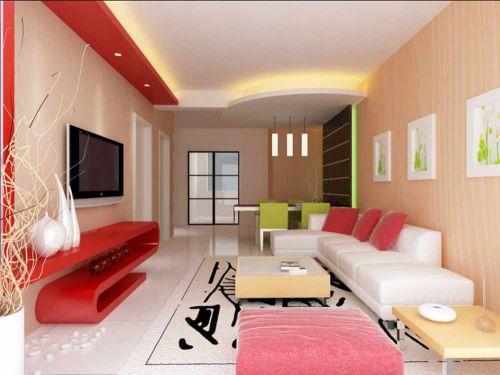 粉色唯美现代风格客厅室内效果图