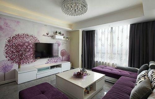 紫色浪漫现代风格客厅装潢设计图片