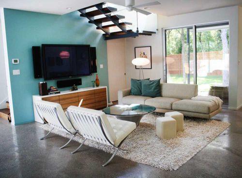 蓝色清新现代风格客厅美图