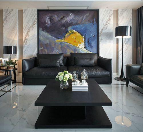艺术时尚现代黑色客厅装修效果图