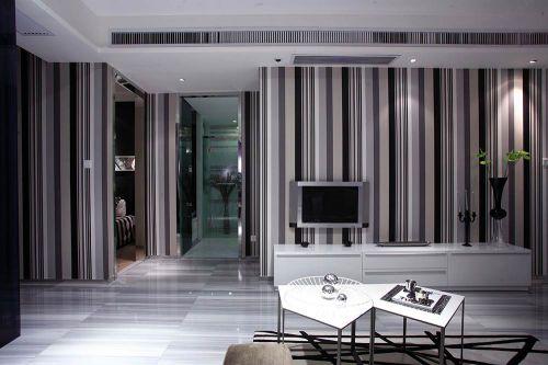 黑白条纹前卫现代风格客厅装潢设计