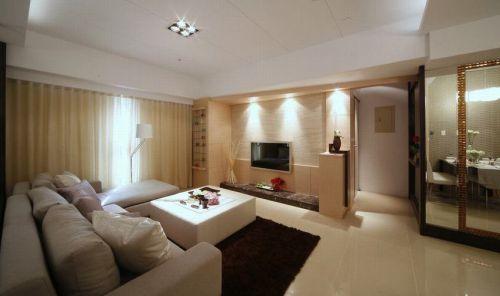 米色雅致时尚现代客厅装饰设计图片