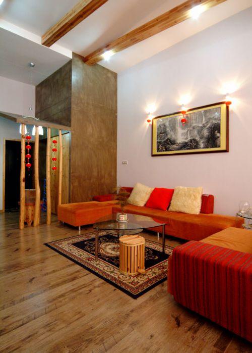 现代风格个性橙色客厅装修效果图片