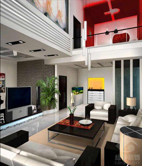 创意摩登个性现代风格客厅效果图