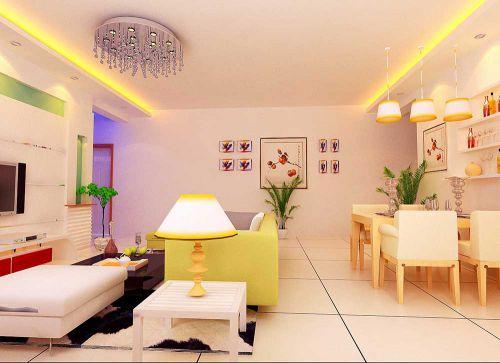 雅丽时尚黄色唯美现代风客厅装潢