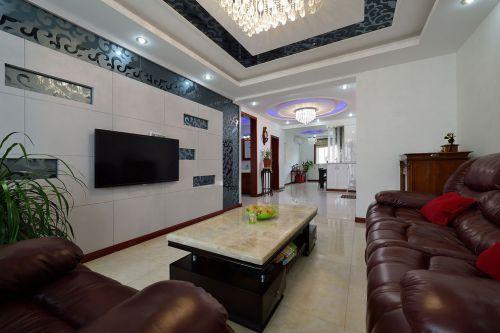 现代风格个性白色客厅装修设计