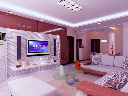 紫色浪漫热情时尚现代风格客厅布置