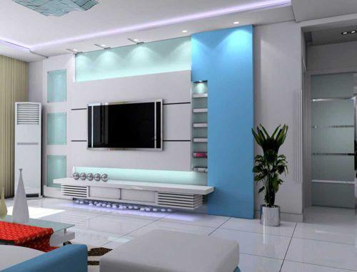 清新海蓝风情现代风格客厅背景墙展示