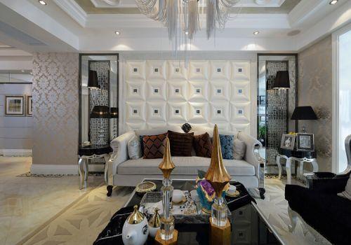 时尚方格欧式沙发背景墙欣赏