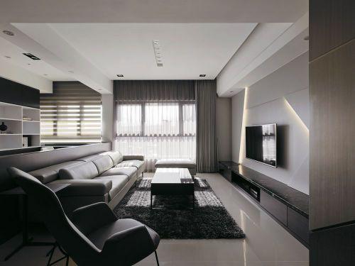 大气雅致现代灰色客厅装潢装修图片