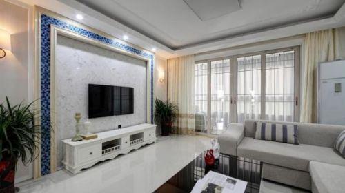 现代风格米色质感客厅装修设计