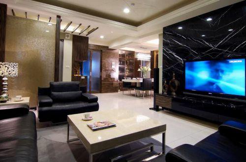 凝练时尚黑色现代风格客厅装修布置