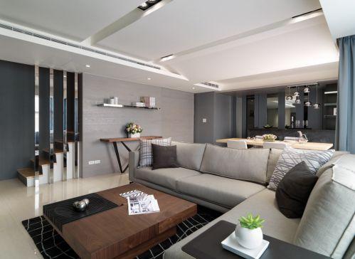 现代风格灰色客厅装潢案例
