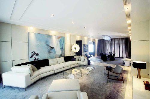 现代简约白色客厅布置欣赏