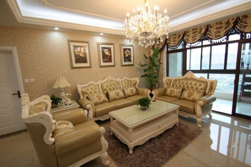 欧式奢华风格米色客厅欣赏