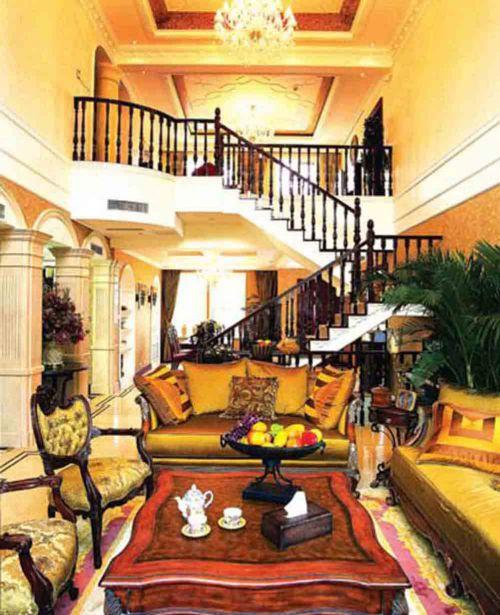 大气低奢美式风格客厅装潢设计