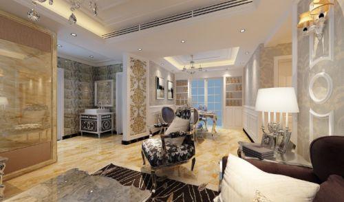淡雅精致欧式风格米色客厅设计图片