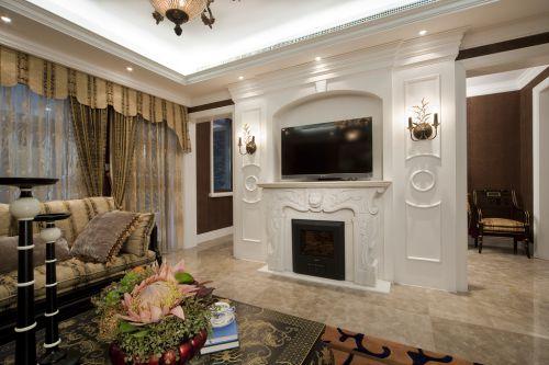 白色精致时尚欧式客厅设计图