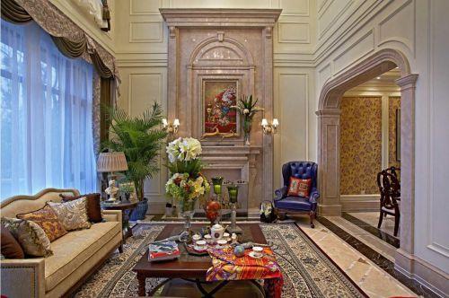 欧式风格轻奢米色客厅装修设计