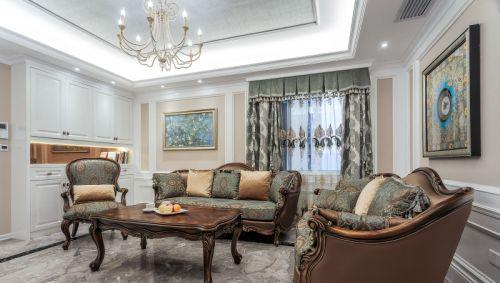 欧式风格大气白色客厅装修效果图
