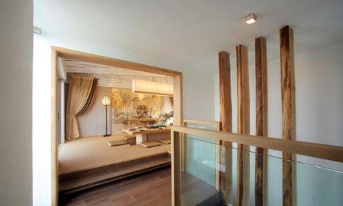 原木淡雅中式风格楼梯美图欣赏