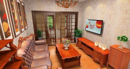 橙色中式风格客厅设计欣赏