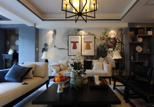 水墨画中式沙发背景墙设计